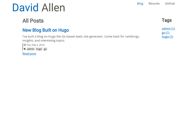 Personal website for David Allen