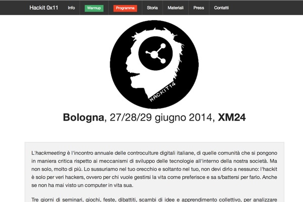the website developed for the Hackmeeting 2014, the italian meeting of the digital countercultures held this year in Bologna