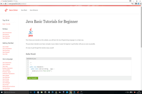 Java Union provide java tutorials for java beginer and you can run java program online