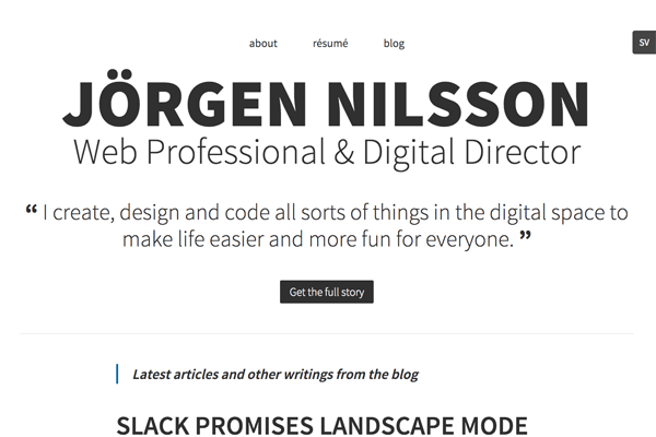 Personal web site and blog of digital director Jorgen Nilsson