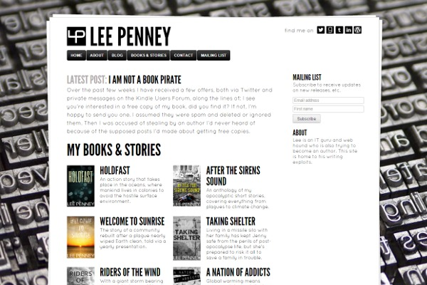 Site of author Lee Penney