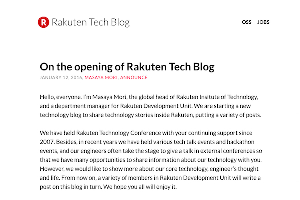 Rakuten Tech Blog