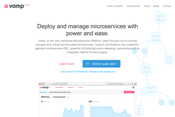 Vamp.io microservices platform homepage and documentation